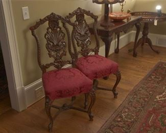6. Pair Carved Anthemion Back Mahogany Side Chairs