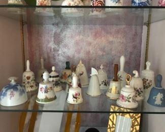Beautiful bell collection.  All represent various fine China makers:  Spode, Wedgwood, Royal Daulton, Royal Albert, Noritake, Lennox, Minton .....