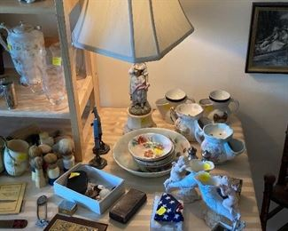 vintage shaving brushes, etched glassware, Bavaria China