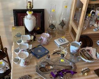 Vintage hurricane lamps, Wedgewood, silverplate