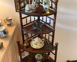 Bamboo accent stands (2), cast candleholders
