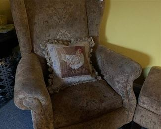A large Samuel Moore wingback chair covered in Brunschwig & Fils Fabric