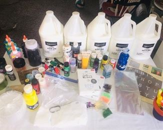 Acrylic paint, glitter, glow-in-the-dark glue, regular school glue, pain markers, stencils, plastic craft containers