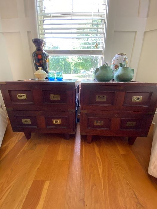 Pair of Vintage Campaign end tables