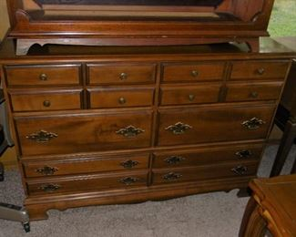 wood dresser with mirror and night stand