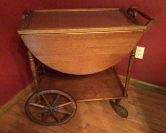Vintage Dining Cart with Glass Tray Top and Drop-Leaves on both sides of cart.  Very Good Condition.