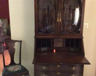 Jasper Secretary with Bowed Glass Top in Excellent Condition