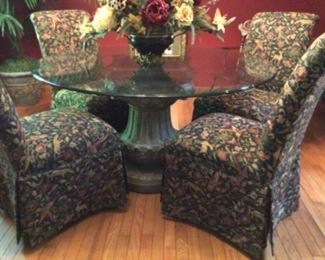 Gorgeous Round Glass Top Table with Pedestal Base & 4 Chairs