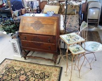 Antique secretary desk - we have 2 in different styles.  Pretty metal garden chair & nesting tables w/ mosaic tiles