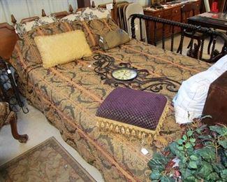 lovely king/queen linen set & queen size frame w/ mattress set. (mattress sealed inside mattress cover). Mid-century king headboard & cute footrest w/ tassels.