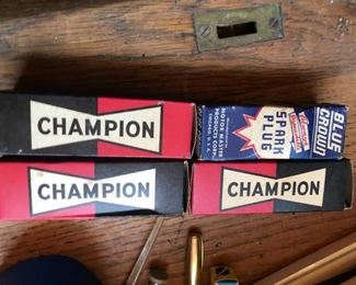 Antique auto parts, many in original boxes / new.