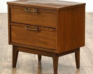 Midcentury Modern 2-Drawer Solid Wood Nightstand