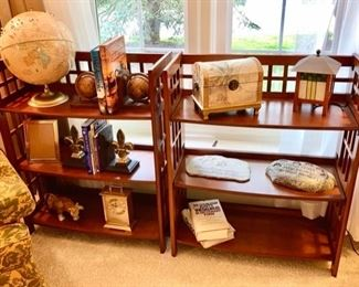 Wooden display stands/book shelves are SOLD, globe, bookends, decor
