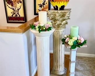 Decorative pedestals w/ silk decor and large jar