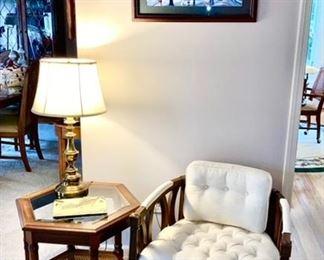 Living room chair, 6 side end table, brass lamp, framed print