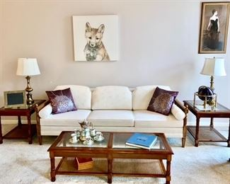 Vintage sofa, end tables, coffee table, brass lamps, fox picture, etc.