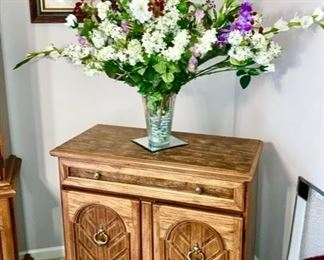 Wooden cabinet, matches china hutch, glass vase w/ silk floral display