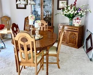 Dining room set including table & 6 chairs, china hutch, buffet/chest