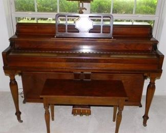 """Winter Company,New York Spinet Piano( 56""""x 24""""x38"""") With Bench (30""""x19"""")"""