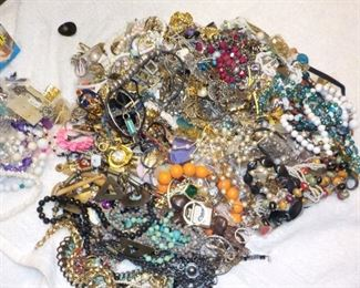 This is about 15 lbs. of Estate Jewelry that we will be sorting and pricing before Thursday morning