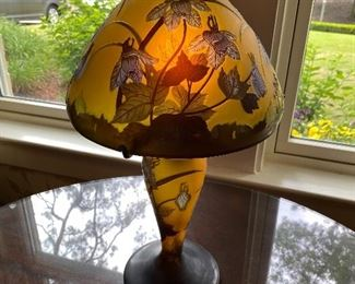 Newer Galle glass lamp & matching vase