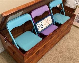 Cedar chest; small folding chairs