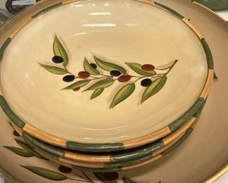 """Large and medium salad bowls - hand painted """"Tuscan Olive"""""""