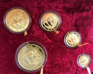 Chinese Gold Coin Panda Bear Set