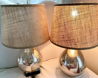 "2 Mercury glazed lamps 21""h both for $45"