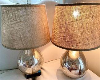 "2 Mercury glazed lamps 21""h both for $45"