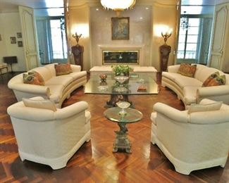 Pair of Hollywood Regency White Silk Brocade Sofas and Armchairs; Oversized Beveled Glass Coffee Table