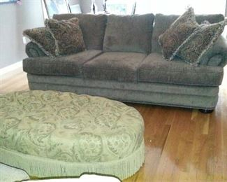 fabric couch and hassock