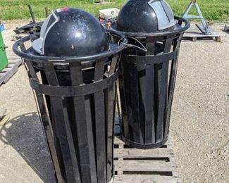 2 Metal Outdoor Trash Cans