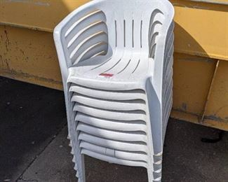 (8) Plastic Stackable Patio Chairs