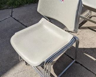 (4) Stackable Metal Frame Plastic Seat Chairs