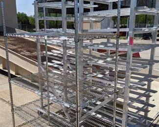 Set Of 2 Aluminum Can Racks And 4 Tier Metal Shelf