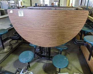 6ft Round Folding Table with attached stools