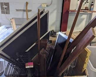 Assorted Display Items and Wooden Easels
