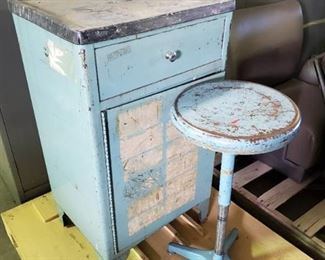 Blue Metal Cabinet With Blue Stool