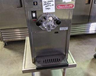 SaniServ Ice Cream Machine on Rolling Table
