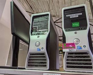 2 computer towers, 1 monitor, 1 keyboard - hard drives removed
