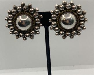 "Sterling 1.5"" by 2""  by Carsi  TC-57 Mexico clip on statement earrings $35"