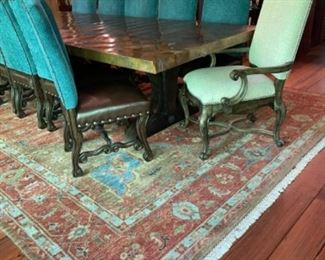 Beautiful Hammered Copper Wrapped Dining Room Trestle Table & Chairs