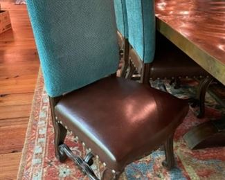 Teal Fabric With Brown Leather Seat Dining Room Chair