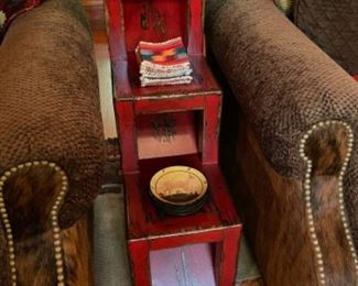 Red Distressed Stair Step Table