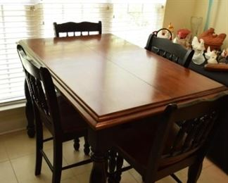 """Butterfly Table with 6 Chairs/Stools. 53"""" X 36"""" X 36"""" T"""