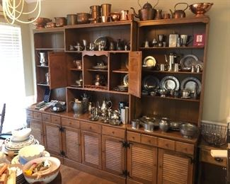 Hutch is three pieces. Price given at the sale.