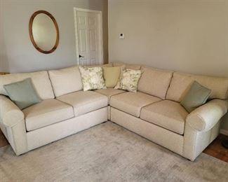 "Ethan Allen 3-Piece Sectional w/ Throw Pillows - 98"" x 98"" - Back Height 36"" - Seat Height 19"""