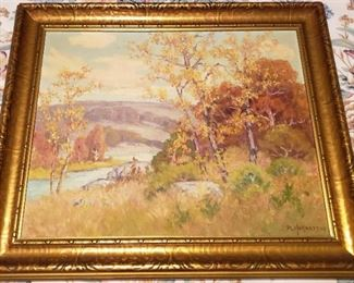 """Peter Hohnstedt, renowned Texas artist original oil on canvas, Dated 1938.  He lived in Comfort Texas, so this is likely a landscape of the Comfort area.  Size with frame is 20 1/2"""" H x 24 1/2"""" W"""