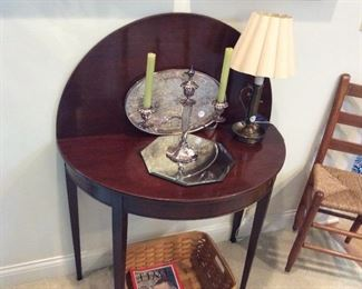 Pairpoint and cut crystal candelabra. Flip top mahogany table